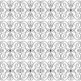 Vintage line art tracery vector seamless pattern. Ornamental abs. Tract black and white monochrome background. Hand drawn doodle swirls ornament, curve lines Stock Photography