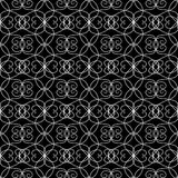 Vintage line art tracery vector seamless pattern. Ornamental abs. Tract black and white monochrome background. Hand drawn swirls ornament, curve lines. Isolated Royalty Free Stock Photo
