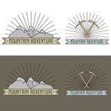 Vintage line craft labels mountain adventure Royalty Free Stock Photography