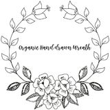 Vintage line drawn monochrome flower wreath. stock image