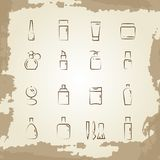 Vintage line icons cosmetics bottles and equipments Stock Photography