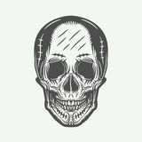 Vintage line skull in retro style. Vector illustration. Royalty Free Stock Photos