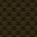Vintage linear damask pattern with gold lines Stock Image