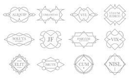 Vintage lineart badges. Line stamp frame, decorative badge label and retro lines emblem vector set. Vintage lineart badges. Line stamp frame, decorative badge royalty free illustration