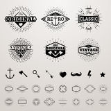 Vintage lines insignia set with star burst. Vector hipster printing bursting retro logo collection. Ax and key, arrow and heart, mustache and lightning Royalty Free Stock Image