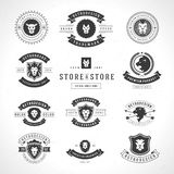 Vintage Lion Logotypes set. Mascot emblem symbol. Can be used for shirts print, labels, badges, stickers vector illustration Stock Photo