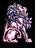 Vintage lion motif in metallic. Seated lion design in pink metal royalty free illustration