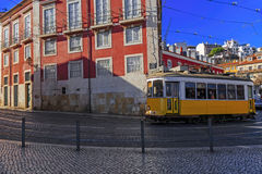 Vintage Lisbon tram on city street Stock Images