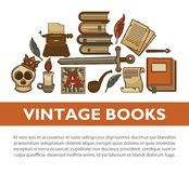 Vintage literature old books vector poster of writer quill ink pen typewriter vector icons. Literature vintage books and writer stationery poster. Vector old Stock Images
