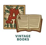 Vintage book vector icon with cover letter design for poetry literature or bookstore and bookshop library reading. Vintage literature and poetry writer quill pen Stock Photo