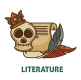 Vintage ancient literature and poetry book with skull vector isolated icon for poetry literature or bookstore library. Vintage literature and poetry writer quill Royalty Free Stock Image