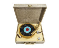 Vintage Little REcord Player isolated. Vintage small record player isolated with clipping path Stock Photography
