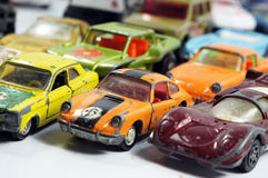 Vintage little toy cars Stock Photo