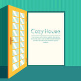 Vintage living colorful open door on house Stock Images