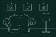 Vintage living room. Simple illustration of vintage living room Royalty Free Stock Photo