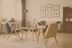Vintage living room design stock photography