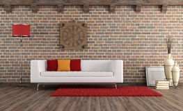 Vintage living room with modern couch Royalty Free Stock Image