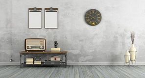 Vintage living room with old radio Stock Photos