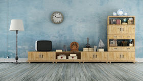 Vintage living room with small television. Vintage living room with wooden wall unit and small television - 3D Rendering Royalty Free Stock Images
