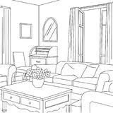 Vintage Living Room Vector Line Art Illustration. For many purpose such as put on architecture and interior magazine, blog, book, website, adult coloring book Stock Images