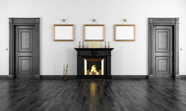 Vintage livingroom with fireplace Stock Image