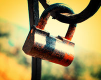Vintage lock. Vintage rusty lock, sepia effect Royalty Free Stock Images