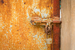 Vintage Lock on Bright Red Door Royalty Free Stock Photography