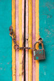 Vintage lock and chain on an door Stock Photos