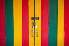 Vintage lock and colorful door Stock Photography