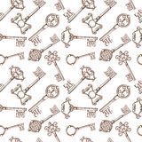 Vintage lock and key vector seamless pattern Stock Photos