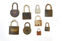 Vintage locks. A collection of old rusty locks isolated on white Royalty Free Stock Photography