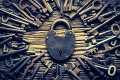Vintage locks nad keys. Closeup of vintage locks nad keys royalty free stock photography