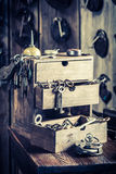 Vintage locksmiths workshop with ancient tools Stock Photo
