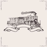Vintage Locomotive Banner. Vector illustration Stock Photography
