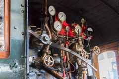 Vintage locomotive - Controling an old train. The Netherlands Stock Image