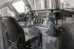 Vintage locomotive - Controling an old train. The Netherlands Royalty Free Stock Images