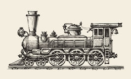 Vintage locomotive. Hand-drawn retro train. Sketch, vector illustration Stock Photos