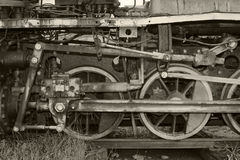 Vintage locomotive which stands on the rails stock images