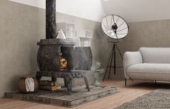 Vintage loft living room with old iron stove, modern interior de. Sign Royalty Free Stock Images