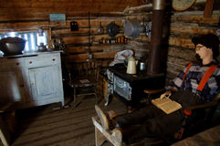 Vintage Log Cabin Interior Stock Photo