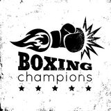 Vintage logo for a boxing. On grunge background Royalty Free Stock Images