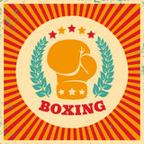 Vintage logo for boxing. On grunge background Royalty Free Stock Images
