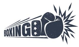 Vintage logo for boxing. Vector vintage logo for a boxing with glove. Vintage logo for boxing Royalty Free Stock Image