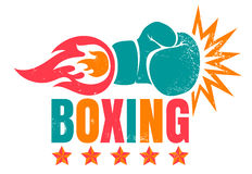 Vintage logo for boxing. Stock Photography