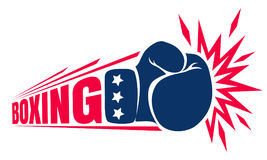 Vintage logo for boxing. Vector vintage logo for a boxing with glove. Vintage logo for boxing Royalty Free Stock Photos