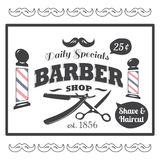 Vintage, logo dénommé de Barber Shop Illustration Libre de Droits