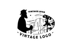 Vintage logo elder and Mountain landscape Stock Photography