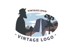 Vintage logo elder and Mountain landscape Royalty Free Stock Photos