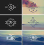 Vintage Logo & Insignia Kit On Blurred Background. Stock Photos