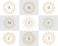 Vintage logo set with abstract ornament frames Stock Photography